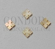 1pc Gold MOP notched squares 4x1.5mm