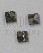 1pc Green abalone notched squares 6x1.5mm