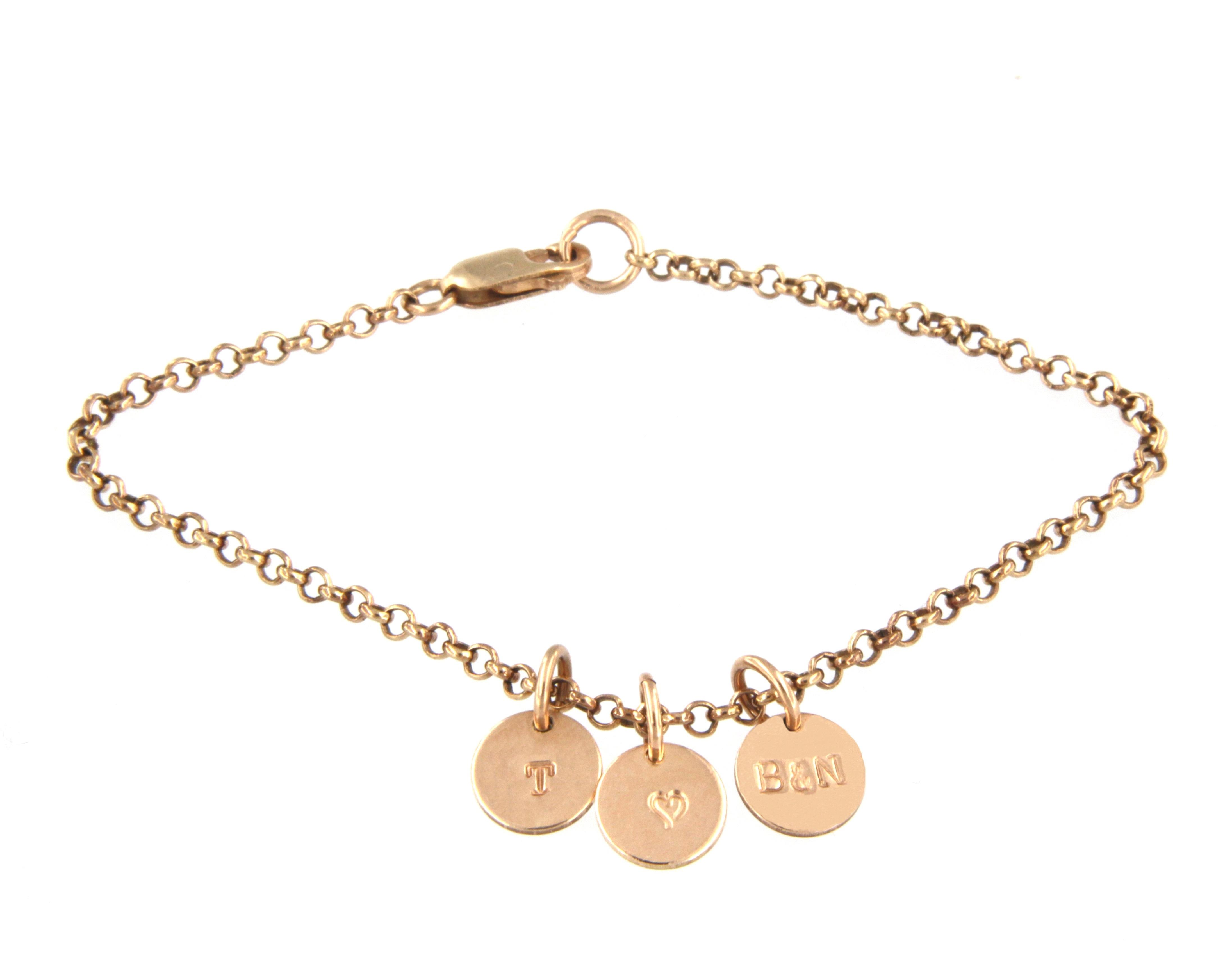 Charm bracelet and alphabet charms in 14ct rose gold filled for Rose gold letter charms