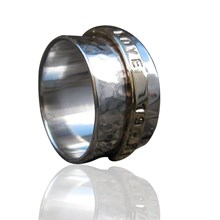 Yellow Gold and Silver personalised spinner ring.