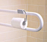 Drop down rail toilet roll holder