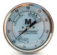 "Weldless Bi-Metal Thermometer 3"" Dial Face- Short Thread - for pots and kegs"
