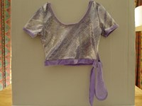 "Cropped Top in Lilac foil print with velour tie Size 1 (28"") only"