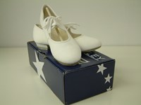 SALE - Roch Valley White Canvas Tap Shoe, heel and toe taps fitted sizes 1.5 only