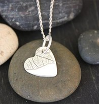 Heart Etched textured pendant- Small