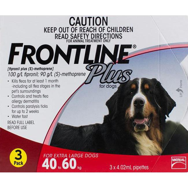 Frontline Plus Xl Dogs 88 132lbs 40 60kg 3 Pipettes