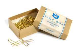 Gold jewellers pins - 100 pack