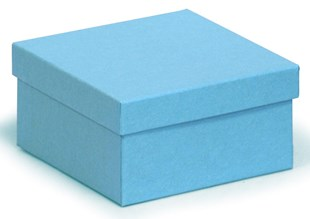 Deeper square kraft recycled bright blue gift box 89 x 89 x 51 mm (KCBB21)