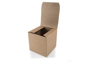 Brown box in recycled material |  Flat packed brown boxes - 10cm x10cm x 10cm (KG02)