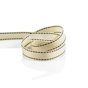 Cream Grosgrain Ribbon With Black Stitching 16mm | Stitched Grosgrain Collection