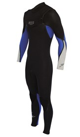 REEFLEX WETSUITS Royale 3/2mm GBS Chest Zip Boys Steamer - Black/Royal Blue/Silver