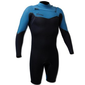GYROLL WETSUITS Primus 2/2mm Chest Zip GBS L/S Springsuit  - Black/ Marina - 2015/16 Model