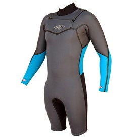 GYROLL WETSUITS Primus 2/2mm Chest Zip GBS L/S Springsuit  - Black/ Graphite/ Aqua - 2014/15 Model