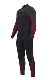 ZION WETSUITS Vault 5/4/3mm Liquid S-Sealed Chest Zip Steamer - Black / Burgundy / Graphite - 2nd Winter 2015 Range