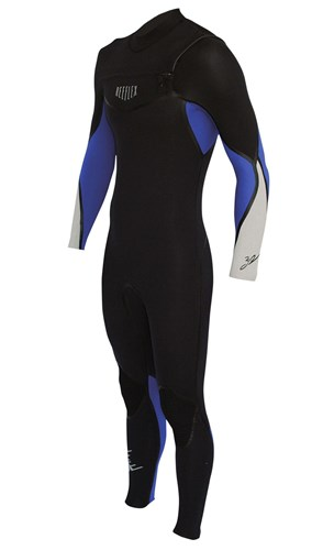 REEFLEX WETSUITS Royale 3/2mm GBS Chest Zip Steamer - Black/ Blue/ Silver