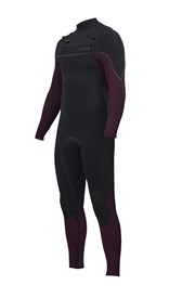 ZION WETSUITS Vault 4/3mm Liquid S-Sealed Chest Zip Steamer - Black / Plum - Winter 2017 Range