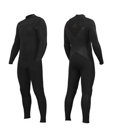 ZION WETSUITS Yeti 4/3mm Liquid S-Sealed Chest Zip Steamer - Black - 2015 Winter