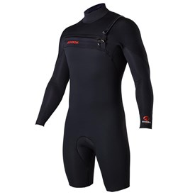 ATTICA Wetsuits - Omega GBS 2/2mm Long Sleeve Springsuit - Black/Red - 2017/18 Summer Range