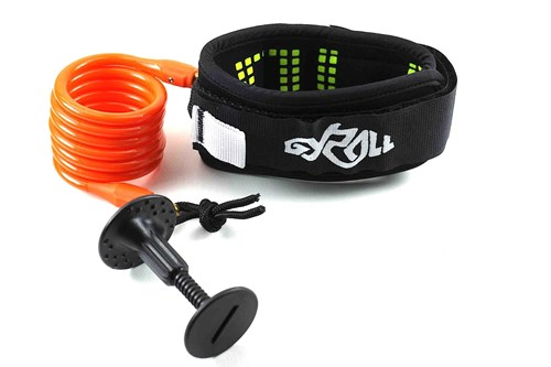 GYROLL Variable Leash Black Cuff - Orange Coil