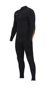 ZION WETSUITS Wesley 3/2mm GBS Chest Zip Steamer - Black / Sunkist - Winter 2016 Range