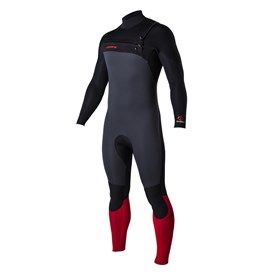 ATTICA Wetsuits - Omega GBS 3/2mm Steamer - Graphite/Black/Red - 2017 Winter