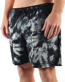 GRAND FLAVOUR Spiral Tie Dye Shorts - Black/ Grey