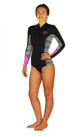 REEFLEX WETSUITS Jewel Ladies 1mm Bikini Cut Long Sleeve Springsuit - Black/ White - Winter 2017 Range