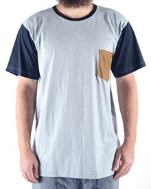 GRAND FLAVOUR Suede Pocket T Shirt - Misty Grey/Black
