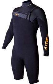 ATTICA WETSUITS ALPHA GBS 2/2mm Long Sleeve SPRINGSUIT - Black/ Graphite/ Orange - 2016 Winter Range