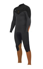 ZION WETSUITS Wesley 3/2mm GBS Chest Zip Steamer - Graphite/ Black/ Sunkist  - 2nd Winter 2015 Range