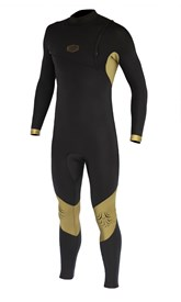 REEFLEX WETSUITS Hardy X2 4/3mm GBS Zipperless Sealed Steamer - Black/ Gold - 2017 Winter Range