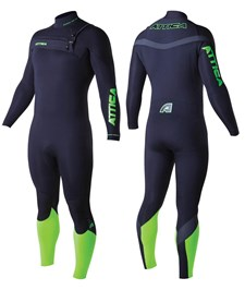 ATTICA WETSUITS OMEGA GBS 3/2mm STEAMER BLACK/ LIME / GRAPHITE - 2014 Winter