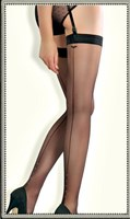 Collette Dinnigan Bridal and Boudoir Hosiery Back Seam Stocking with tiny pearl detail at bottom of seam.(Black and Ivory)