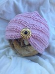 Hand Knitted Baby Turban - pink