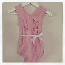 Heritage Handknitted Bamboo and Wool Onesie - Pink