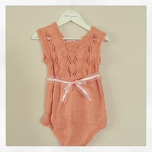 Heritage Handknitted Bamboo and Wool Onesie  - peach