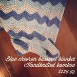 Just Sprouted - Hand Knitted Blanket - blue chevron