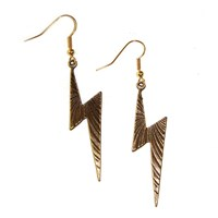 Antiqued Bronze Patterned Lightening Bolt Earring