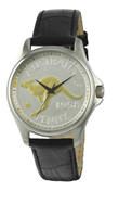 Coinwatch Lifestyle Collection Mens Silver Australian Kangaroo Penny with Black leather band
