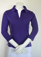 Sun Protection Purple Razor Back Ladies Golf Shirt