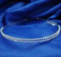 2 Row Diamonte Silver Hair Band, 4225