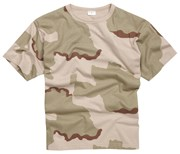 100% Cotton Basic Military Style T-shirt - Tri Desert