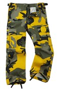 Colourful Camo Kid/Youth Combat Trouser Yellow