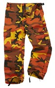Colourful Camo Kid/Youth Combat Trouser Orange