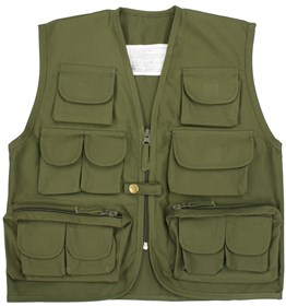 Kids Multi-Pocket Fishing Vest Olive