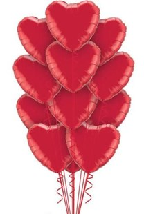 Dozen Red Hearts Balloon Bouquet