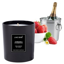 Champagne & Strawberries Triple Scented 300g Soy Glass Jar Candle
