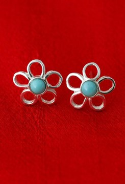 flores azul earrings