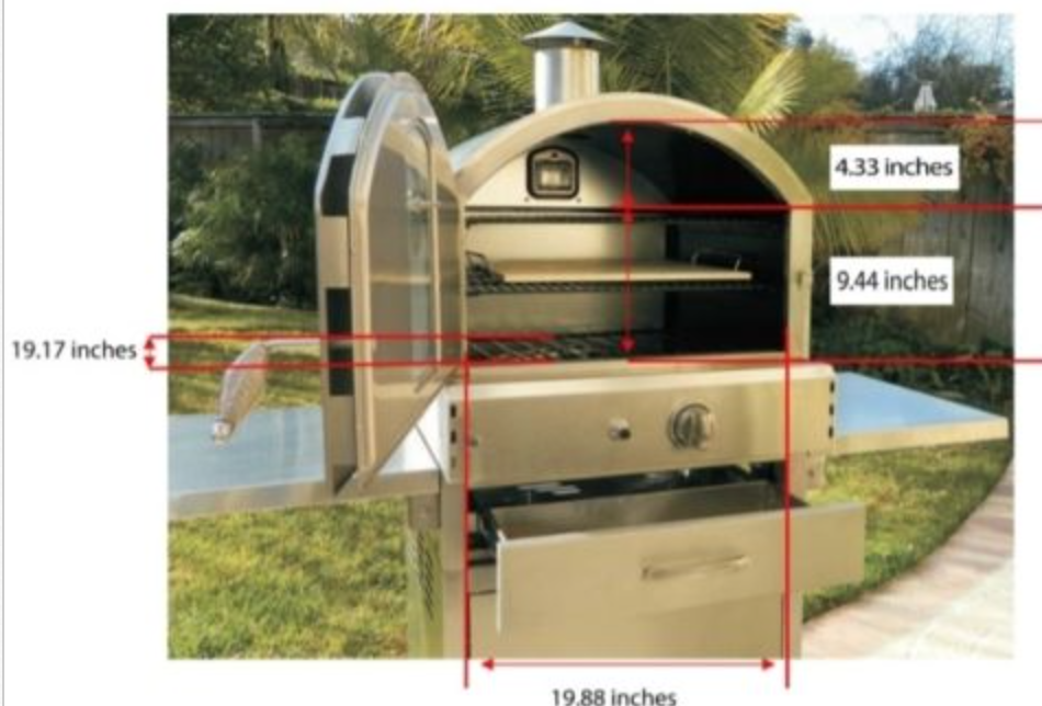 PACIFIC LIVING STAINLESS STEEL GAS PIZZA OVEN WITH BASE #PL8430SSBG070