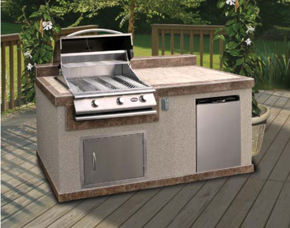 Cal flame 6 39 pavilion outdoor kitchen island pv6004 for Small outdoor kitchen island